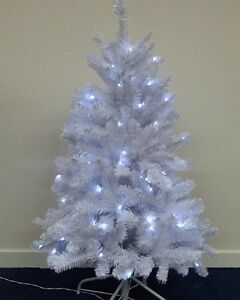 Details About White Pre Lit Christmas Tree With 100 White Leds 120cm 4ft