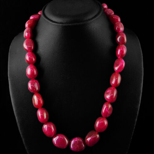 Plus haut ont exigé 722.20 cts Earth mined Rouge Rubis Perles Collier Brin $ $ $