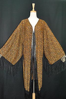 Classic Brown Black Kimono Fringe Jacket Burnout Silk Velvet Sheer Coat Kimono