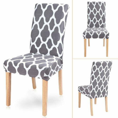 Dining Chair Seat Covers Slip Cover Stretch Wedding Banquet Party Removable Grey