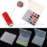 Bobbin Box With 25 Empty Clear Colorful Bobbins Sewing Machine Spool Thread Cord
