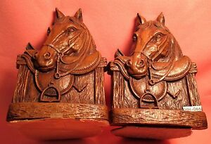 Vintage-English-Saddle-Horse-Head-SYROCO-unmarked-BOOK-ENDS