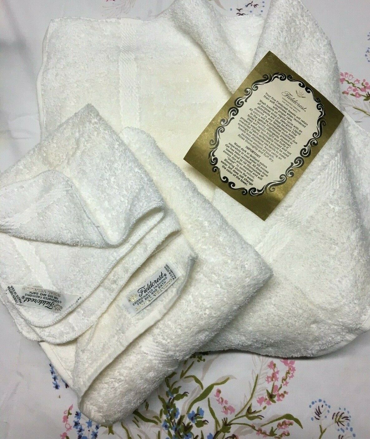 SET OF VINTAGE FIELDCREST Off White TOWELS - NEW - HAND , BATH with Label
