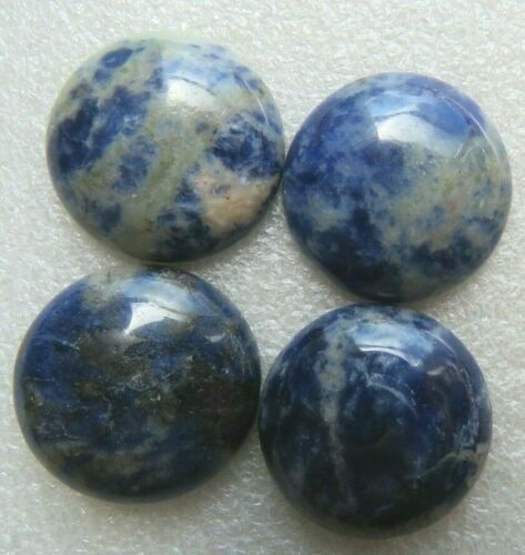 Jewellery//Craft Making 4 x Natural Blue Spot Stone Cabochons .25mm Round