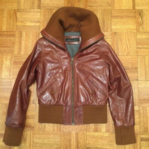 Moto Leather Jacket Bomber American New Small Base Brown S Biker York qqatS
