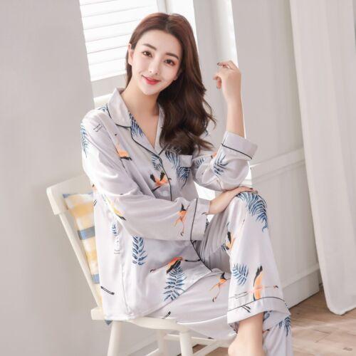 Women Luxury Silk Satin Pajama Sets Long Sleeve Print Pyjamas Sleepwear Homewear