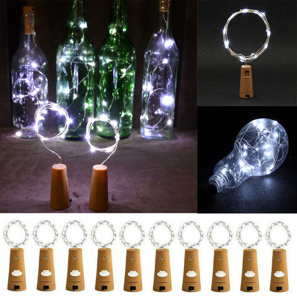 10pcs Battery Fairy Cork Lights String Wine Bottle Stopper For Party Xmas Events