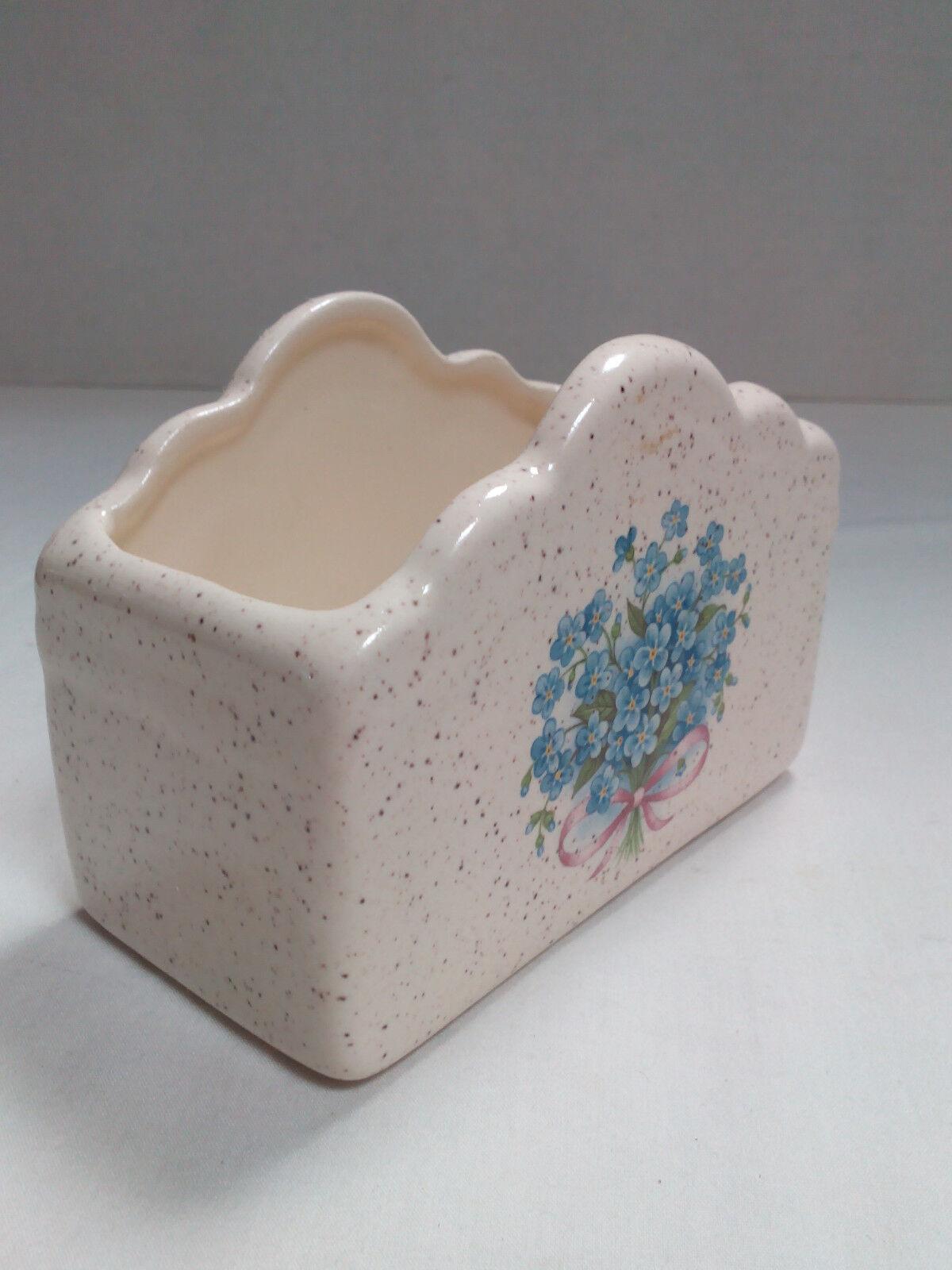 Ceramic Business Card Holder Box Bouquet Design Blue Flowers ...