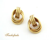 14k Yellow Gold Beautiful Oval Tubular Earrings High Polished 5.7 Grams.