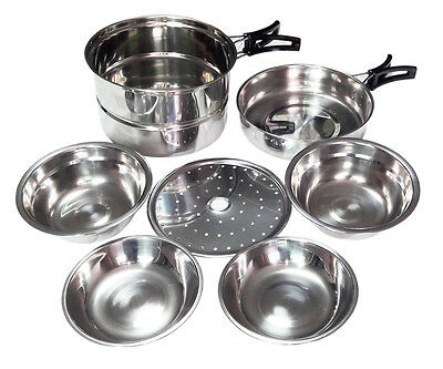 Stainless Steel Camping Nesting Cookware Set Pot Pan Bowls Plates Steamer Insert
