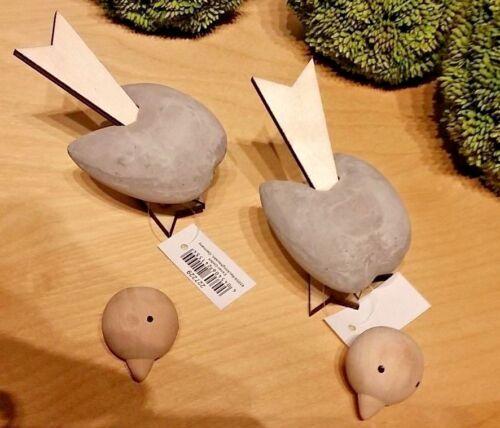 Zement Holz Vogel 2er Set Birds Deko 5 x 8 x 9 cm Doppelpack