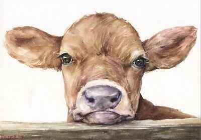 Cow calf watercolor Print of the Original Watercolor ... (400 x 279 Pixel)