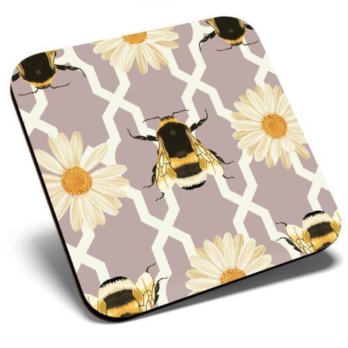 Square Single Coaster Art Deco Bumble Bee Flower  #2139