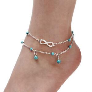 Bracelet-de-Cheville-avec-l-039-Infini-et-des-Perles-Turquoises-Bijoux-Femme-Cadeau