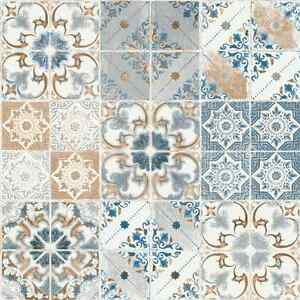 Orange And Blue Spanish Tile Wallpaper Valencia Tiling On A Roll 5011 Ebay