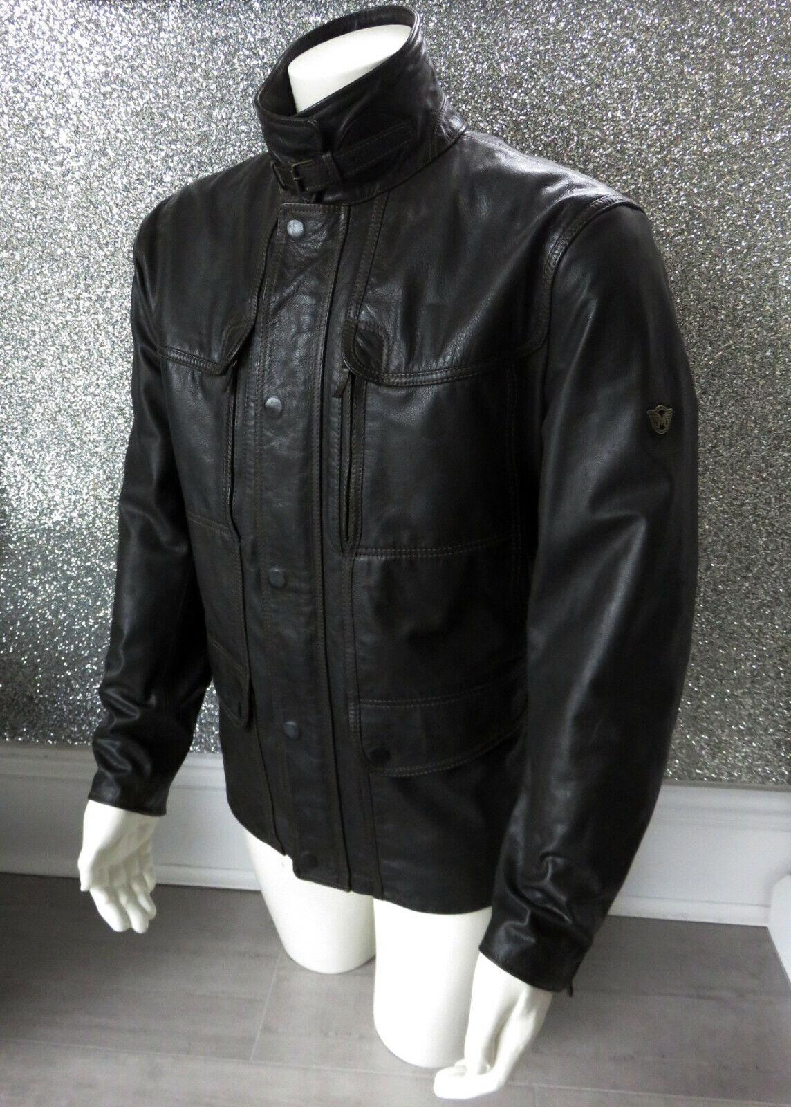 Kensington Evolution Negro Chaqueta De Cuero inigualable que 54 XXL RRP 1200