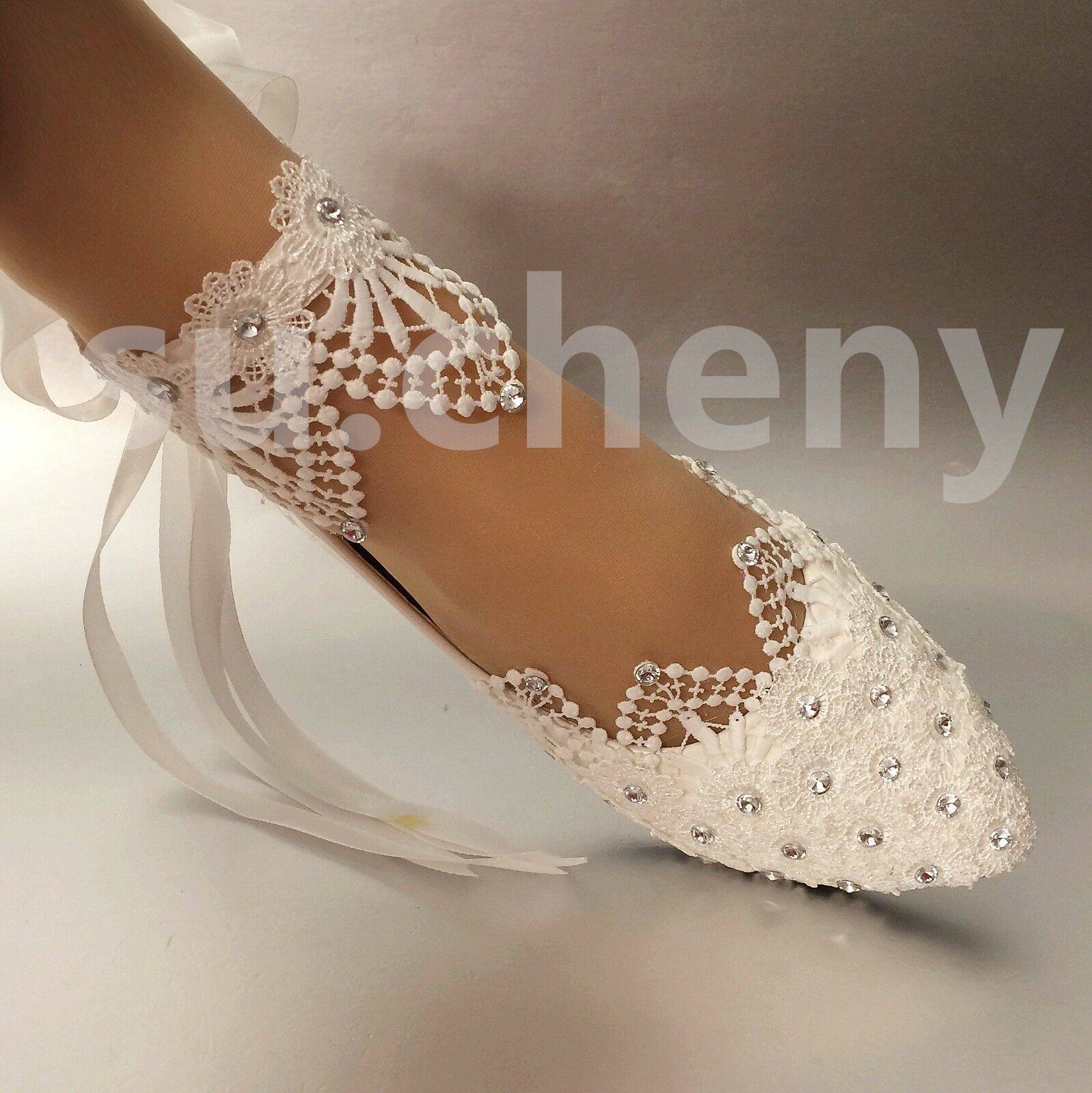Su.cheny Weißes Licht Elfenbein Spitze Perle Strass Knöchel Flach    | Elegant und feierlich  | ein guter Ruf in der Welt  | Online-Exportgeschäft  d311f2