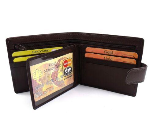 Homme premium super doux brun foncé portefeuille cuir carte de crédit titulaire id photo