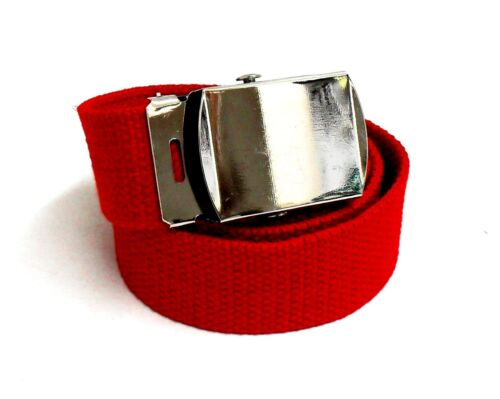 Men/'s black brown grey blue green beige red Cotton Nickel Buckle Adjustable Belt