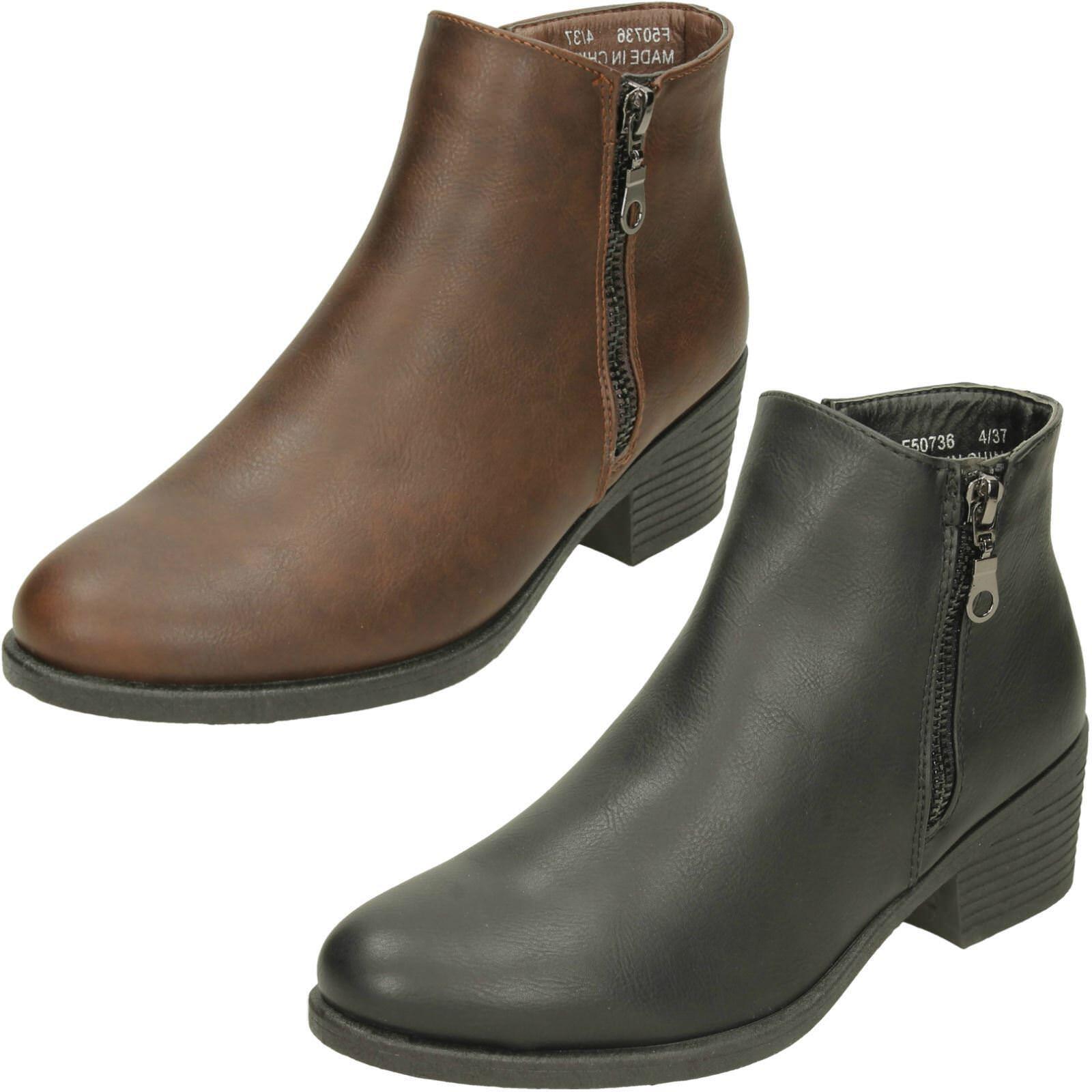 Ladies Spot On Zip Up Mid Heel Ankle Boots