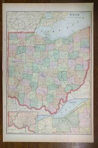 Vintage-1902-OHIO-Atlas-Map-14-034-x22-034-Old-Antique-Original-FREMONT-SANDUSKY-TOLEDO