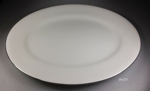 """WEDGWOOD SILVER ERMINE R4452 OVAL SERVING PLATTER  15 3//4/"""" PERFECT! CONTOUR"""