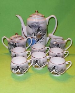 15-pc-vintage-Soko-SATSUMA-winter-scene-TEA-SET-GEISHA-GIRL-LITHOPANES-in-cups
