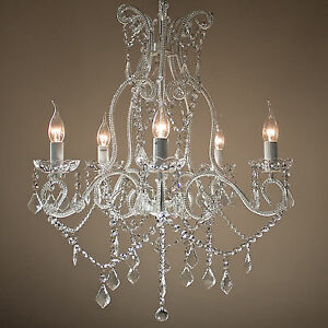 Details About French Provincial Dignity Chandelier Large Shabby Paris Gl Crystals 5 Light