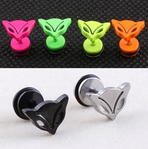 PAIR Cute Fox Animal Stud Earring 316L Stainless Steel Prevent allergy 0S0254E
