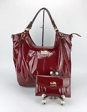 COACH 15991 MADISON PATENT LEATHER XL LARGE SHOULDER TOTE Purse Bag & Wallet Set