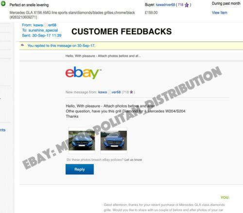 2013-17 Diamond grille AMG GLA45 GLA 200 CDI Mercedes X156 noir Night Package