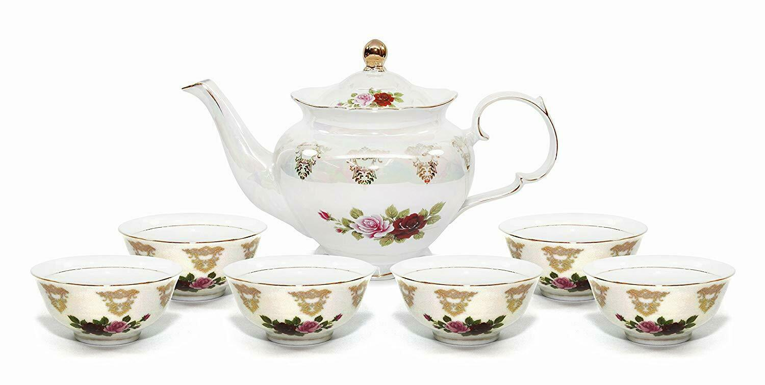Royalty Porcelain 7pc Floral Tea Set, 24K gold-Plated Original Cobalt Tableware