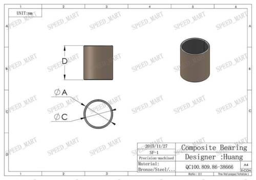 10Pcs SF-1 1220 Self Lubricating Composite Bearing Bushing Sleeve 12*14*20mm New