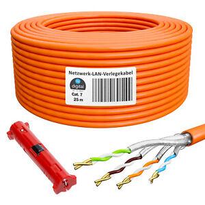 Cat-7-Netzwerk-LAN-kabel-Verlegekabel-25m-Kupfer-S-FTP-GELB-Cat7-Cat-7-Ethernet