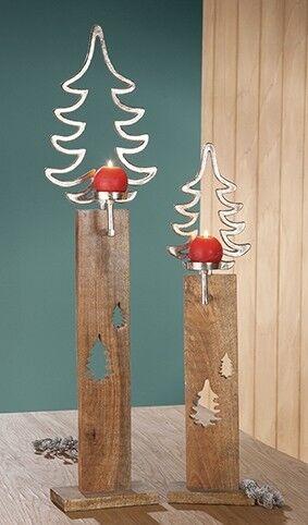 Christmas 1 x Leuchter Tanne Alu Holzbase silber Mangoholz H 84 cm Weihnachten