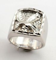 Close Out Mens Ring With Eagle Design Rhodium Plated Made In Usa