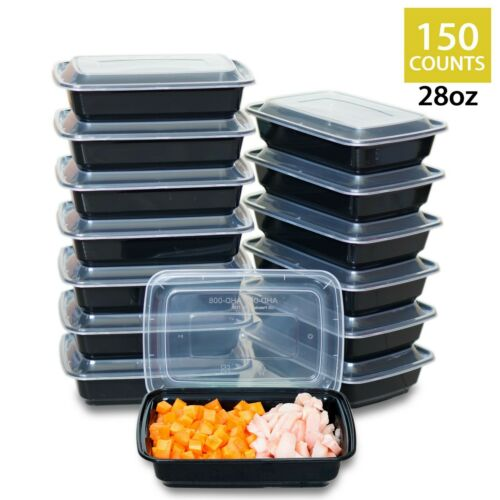 150 Sets 28 oz Takeout Bento Boxes With Lids Adults Lunch Box For Hot Meal Prep