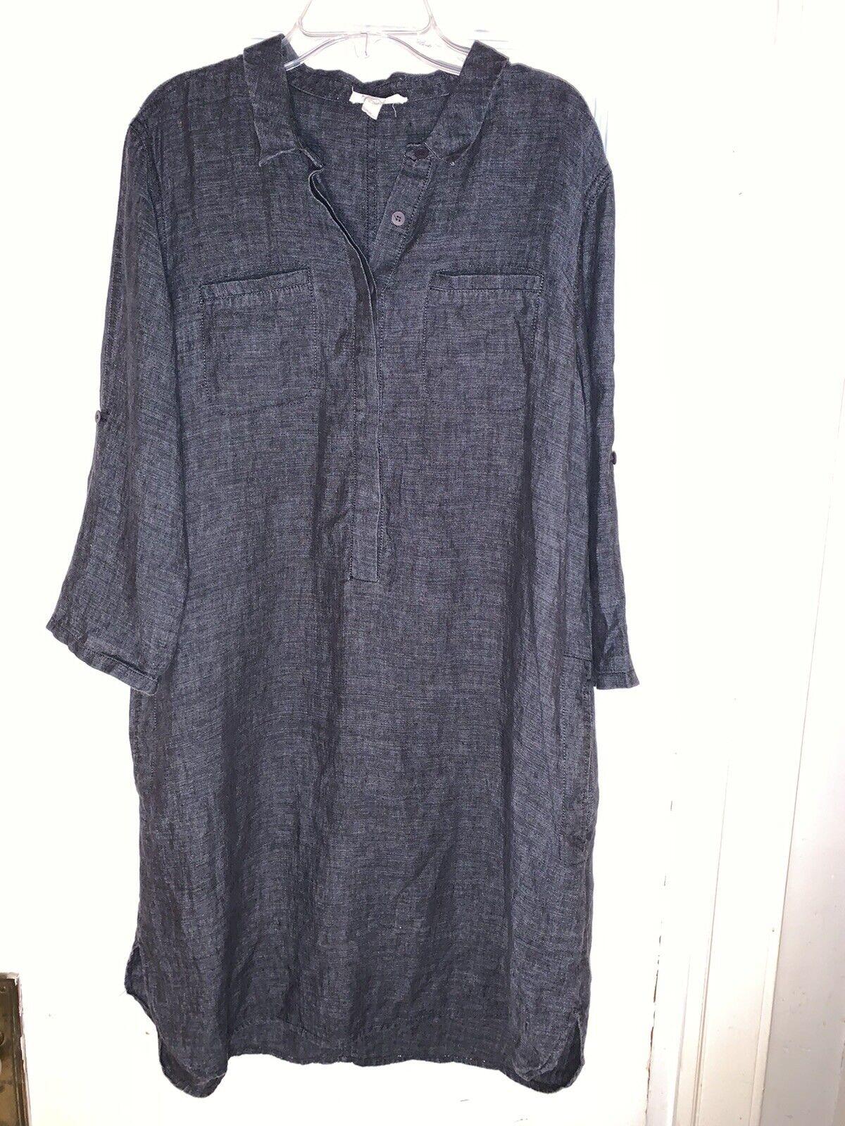 Eileen Fisher Popover Dress Organic Linen Denim Chambray 3/4 sleeve sz S