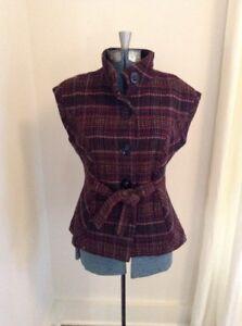 646236eb53 Details about CAbi Women's Wool Plaid Tweed Vest Blazer Size M Medium