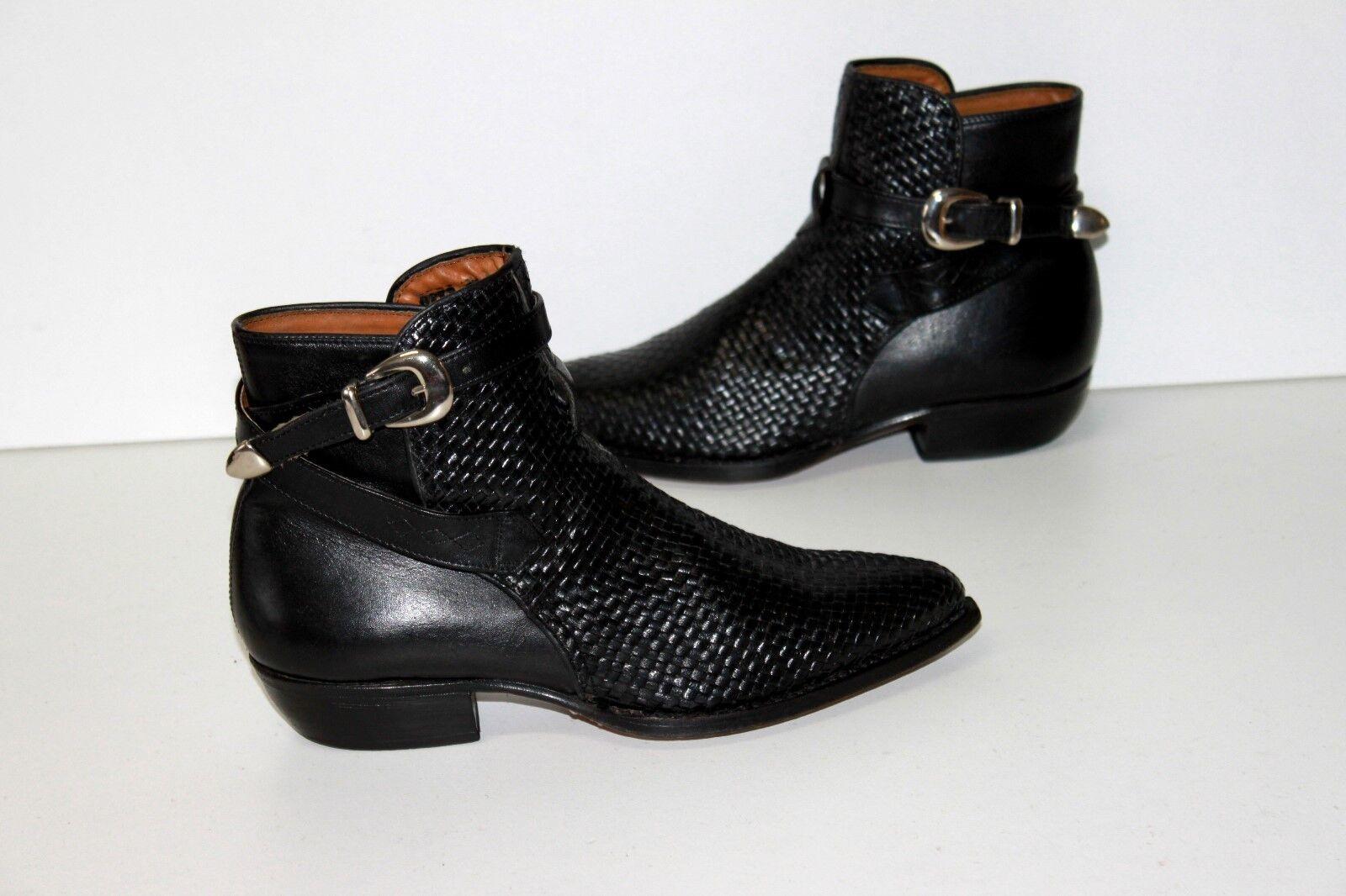 JOHNNY GUITAR PARIS Boots Pointues Tout Cuir Tressé Noir T 38 TBE
