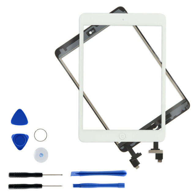 White Touch Screen Glass Digitizer Replacement IC Home Button for iPad Mini 1 2