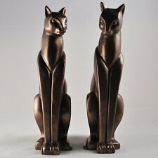 Art Deco Bronze Cats Pair Stylised Standing Ornament Sculpture Statue 01054