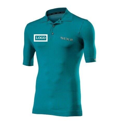 Camisa Polo Camiseta de manga corta Bike logo p. Bici SIXS verde CA. Italia POL
