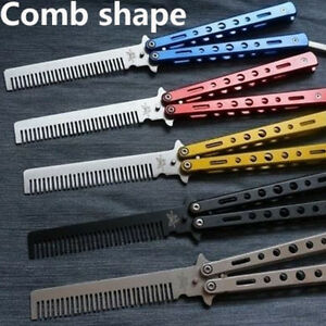 1PC-Butterfly-Comb-Stainless-Steel-Practice-Training-Comb-Tools-Camping-Hiking