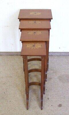 Beistelltisch 4 Tlg. Tisch-set Holz Nussbaumton Intarsien Antik-stil Um Der Bequemlichkeit Des Volkes Zu Entsprechen
