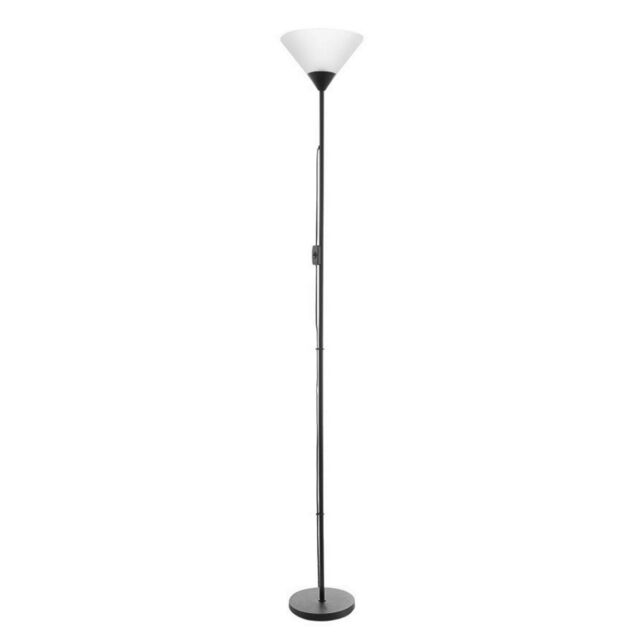 Upright Floor Lamp Stand Light Tower Home Lighting Shade Electric Vintage Black