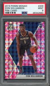 Zion-Williamson-Pelicans-2019-Panini-Mosaic-Pink-Camo-Rookie-Card-209-PSA-9