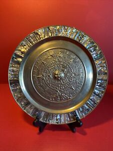 VINTAGE 1950's Mexican MAYAN CALENDAR Plate ALPACA SILVER & ABALONE SHELL