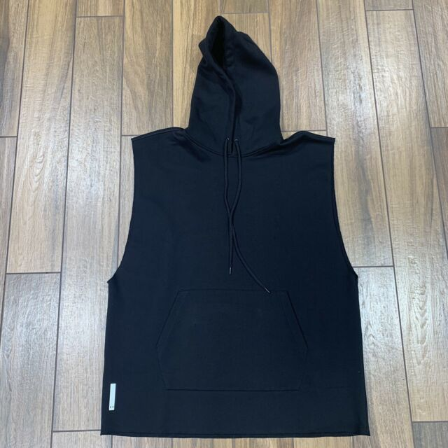 Under Armour Men/'s Jet Black Oversized Sleeveless Gangsta Hoodie NWT Size Sm//Med