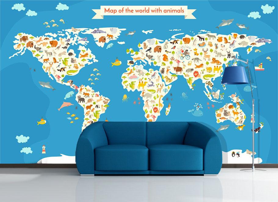 3D Animals Map 003 WallPaper Murals Wall Print Decal Wall Deco AJ WALLPAPER